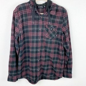 Vans button down plaid long sleeve with hoodie